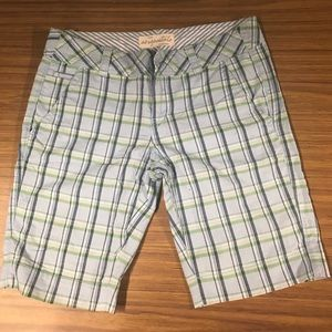 Blue checkered Bermuda shorts
